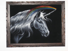 "Unicorn,  White magical rainbow Unicorn, Original Oil Painting on Black Velvet by Enrique Felix , ""Felix"" - #F28"