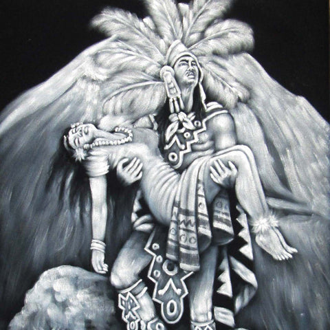 "Aztec Lovers, Popocatepetl & Iztaccíhuatl ; Original Oil Painting on Black Velvet ;   -(size 18""x24"")-px J146"
