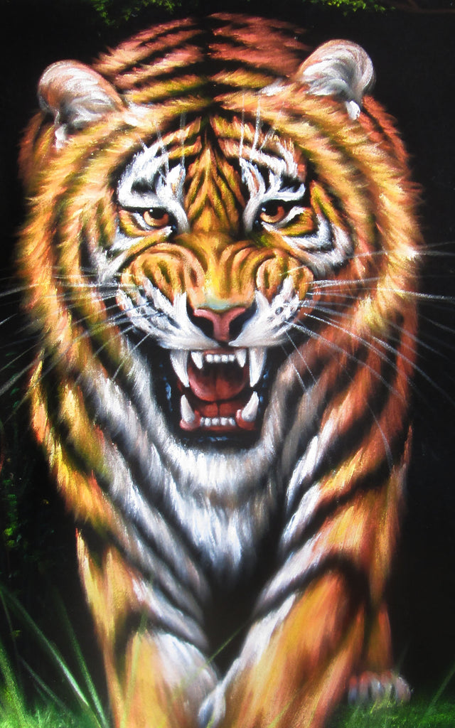 "Bengal tiger Stalking in grass ; Original Oil Painting on Black Velvet ;  by Jorge Terrones -(size 18""x24"")-px J163"