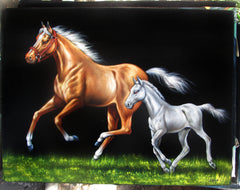"Mare and Colt or filly in grass; Original Oil Painting on Black Velvet ;  by Jorge Terrones -(size 18""x24"")-p1 J164"
