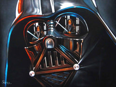 "Darth Vader with Obi-Wan Kenobi; Star Wars Art ; Original Oil Painting on Black Velvet ;   by Jorge Terrones -(size 18""x24"")-p1 J221"