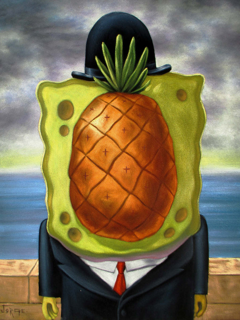 SpongeBob SquarePants Sponge Bob Magritte Oil Painting Art Black Velvet ; Original Oil painting on Black Velvet by Jorge Terrones - #J120