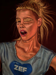 Yolandi Visser Of Die Antwoord;  Original Oil painting on Black Velvet by Jorge Terrones - #j416