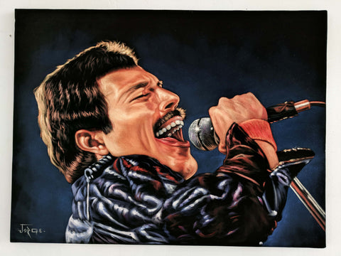Freddie Mercury; Queen  ; Original Oil painting on Black Velvet by Jorge Terrones - #j431