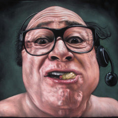 Danny Devito from 'Always Sunny in Philadelphia':  Original Oil painting on Black Velvet by Jorge Terrones - #j432