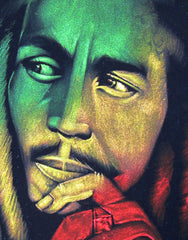 Bob Marley Legend  album art,  reggae colors ; Original Oil painting on Black Velvet by Zenon Matias Jimenez- #JM105