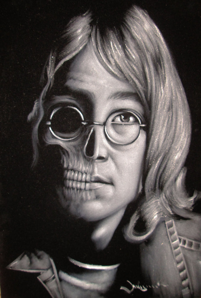 John Lennon portrait; Beatles; Calavera Skull; Day of the dead;  Original Oil painting on Black Velvet by Zenon Matias Jimenez- #JM112