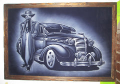 Lowrider Car; Zoot suit;  Original Oil painting on Black Velvet by Zenon Matias Jimenez- #JM113