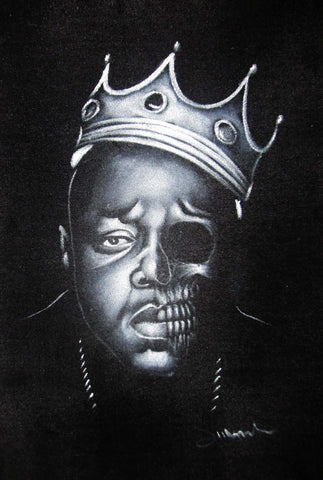 Biggie Smalls portrait; The Notorious B.I.G.; Calavera Skull; Day of the dead;  Original Oil painting on Black Velvet by Zenon Matias Jimenez- #JM125