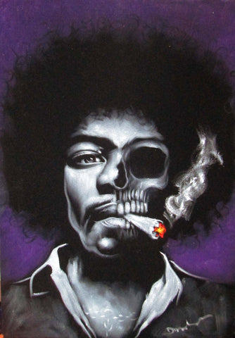 Jimi Hendrix portrait; Calavera Skull; Day of the dead;  Original Oil painting on Black Velvet by Zenon Matias Jimenez- #JM126