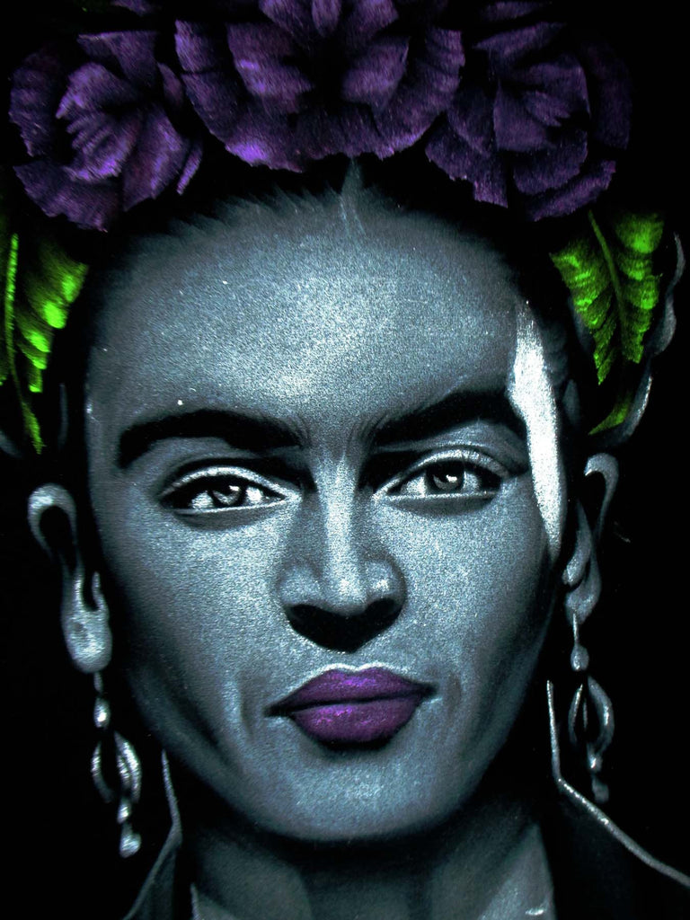 Frida Kahlo de Rivera portrait;  Original Oil painting on Black Velvet by Zenon Matias Jimenez- #JM128