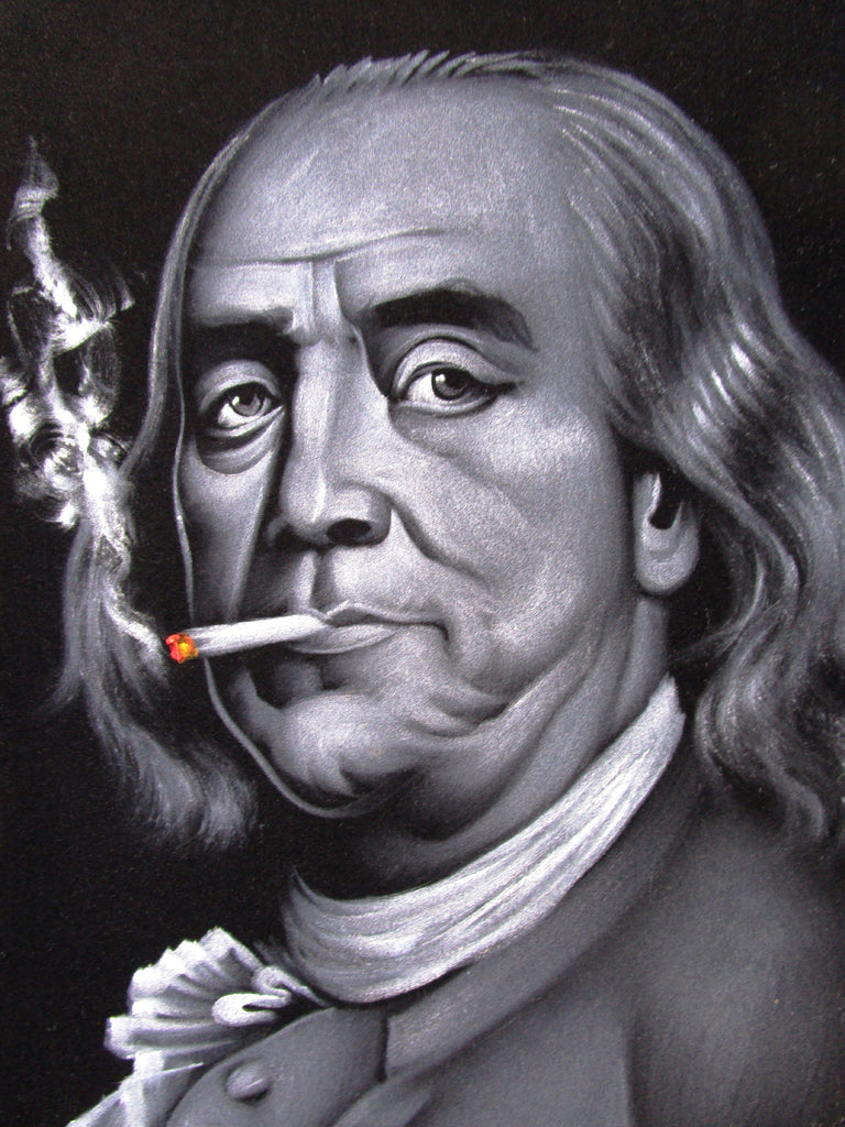 Benjamin Franklin portrait ; Ben; Original Oil painting on Black Velvet by Zenon Matias Jimenez- #JM135