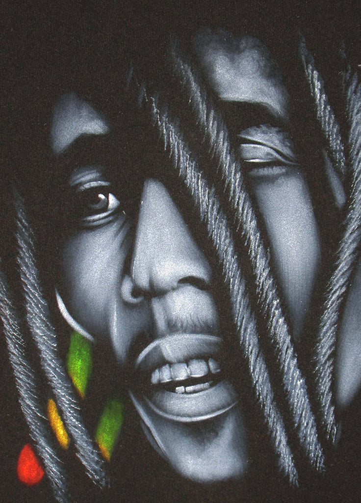 Bob Marleyportrait,  reggae colors ; Original Oil painting on Black Velvet by Zenon Matias Jimenez- #JM82