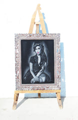 Amy Winehouse portrait; Amy Jade Winehouse; Original Oil painting on Black Velvet by Zenon Matias Jimenez- #JM96