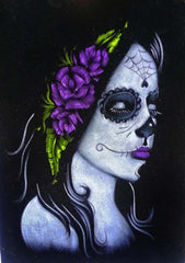Skull Girl portrait;  Purple rose; Day of the Dead ; Calavera; Original Oil painting on Black Velvet by Zenon Matias Jimenez- #JM99