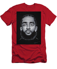 Nipsey Hussle Rapper Portrait Original Oil Painting Black Velvet Jm287 - Men's T-Shirt (Athletic Fit)