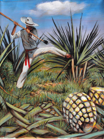 "El Jimador Agave Farmer  for mezcal, sotol and tequila size 24""x 18"" by Palomares PM58"