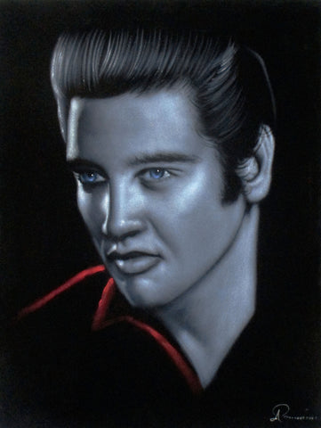 Elvis Presley Oil Painting Portrait on Black Velvet; Original Oil painting on Black Velvet by Arturo Ramirez - #R27