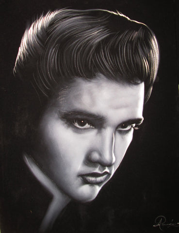 Elvis Presley Oil Painting Portrait on Black Velvet; Original Oil painting on Black Velvet by Arturo Ramirez - #R9