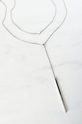 Bar Drop Layered Necklace – Silver