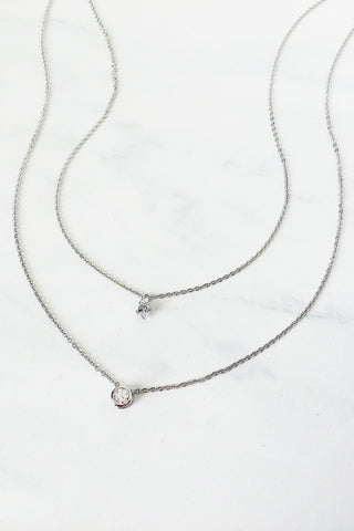 Two Crystal Layered Necklace