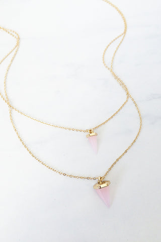 Faux Stone Layered Necklace – Pink