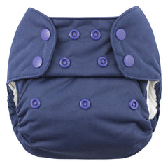 Navy, Blueberry One Size Simplex All-In-One Diaper, www.bellylaughs.ca