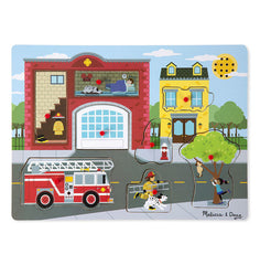 Around The Fire Station, Melissa & Doug Wooden Sound Puzzles, www.bellylaughs.ca
