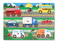 Vehicles, Melissa & Doug Wooden Peg Puzzle, www.bellylaughs.ca