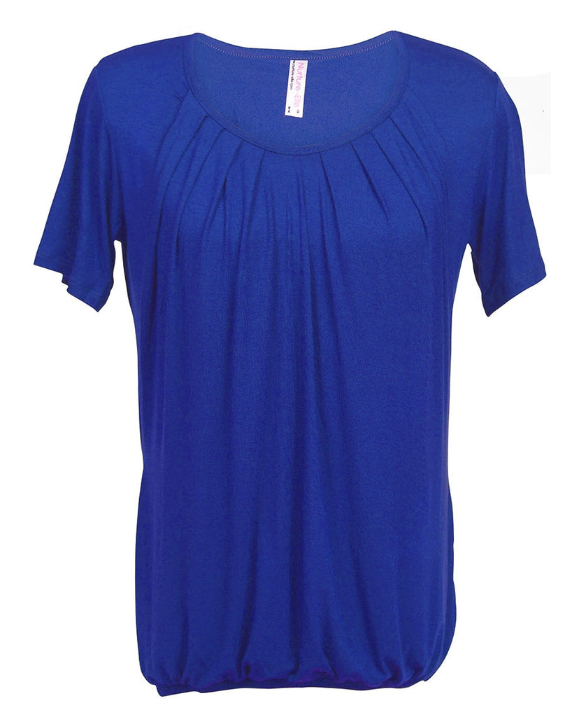 Nurture-Elle Pleasted Nursing Top Small / Electric Blue - Belly Laughs - A Children's & Maternity Boutique - Canada - 2