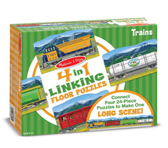 , Melissa & Doug Trains Linking Floor Puzzle (96 pc), www.bellylaughs.ca