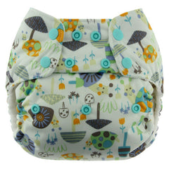 Snails, Blueberry One Size Simplex All-In-One Diaper, www.bellylaughs.ca