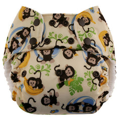 Monkeys, Blueberry One Size Simplex All-In-One Diaper, www.bellylaughs.ca