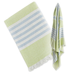 Green and Aqua Blue, Lulujo Turkish Towels, www.bellylaughs.ca