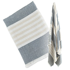 Classic Navy and Oatmeal, Lulujo Turkish Towels, www.bellylaughs.ca