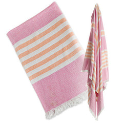 Passion Pink and Apricot, Lulujo Turkish Towels, www.bellylaughs.ca