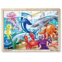24 piece / Under the Sea, Melissa & Doug Wooden Jigsaw Puzzles, www.bellylaughs.ca