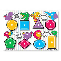 Shapes, Melissa & Doug Wooden Peg Puzzle, www.bellylaughs.ca