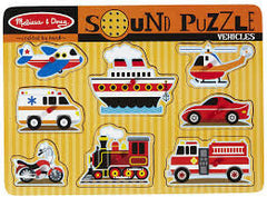 Vehicles, Melissa & Doug Wooden Sound Puzzles, www.bellylaughs.ca