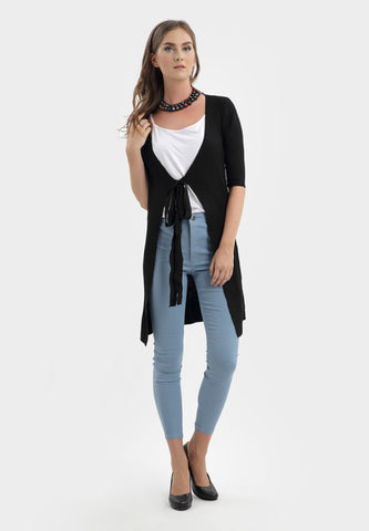 Front Tied Knitted Cardigan in Black