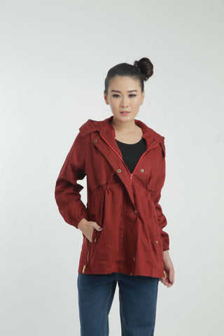 AMELIE COLLARED PARKA JACKET MAROON