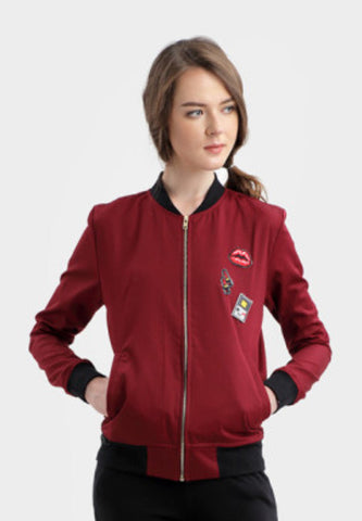 Berna Patched Bomber Jacket in Maroon