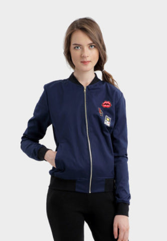 Berna Patched Bomber Jacket in Navy