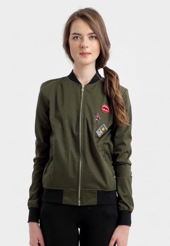 Berna Patched Bomber Jacket in Army Green
