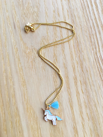 Necklace Unicorn blue