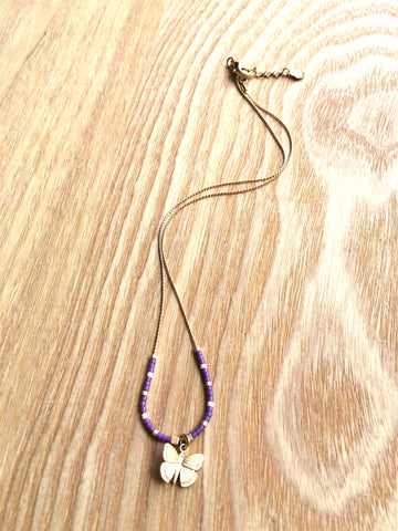 Necklace Butterfly purple