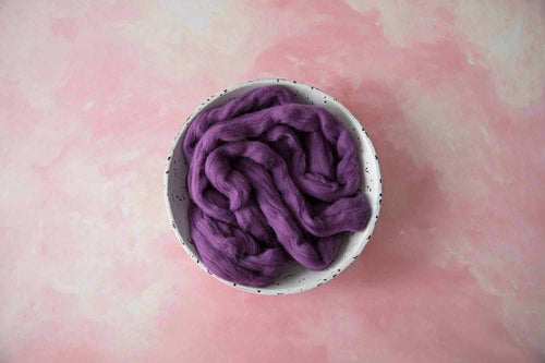 100% Merino Soft Purple Plum Roving Wool