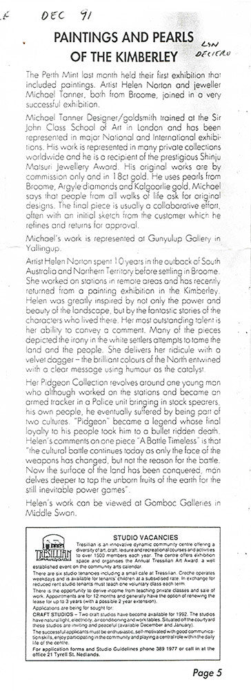 1991 Paintings and Pearls of the Kimberley - The Artists Chronicle