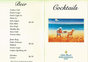 1996 Cable Beach Club Menu