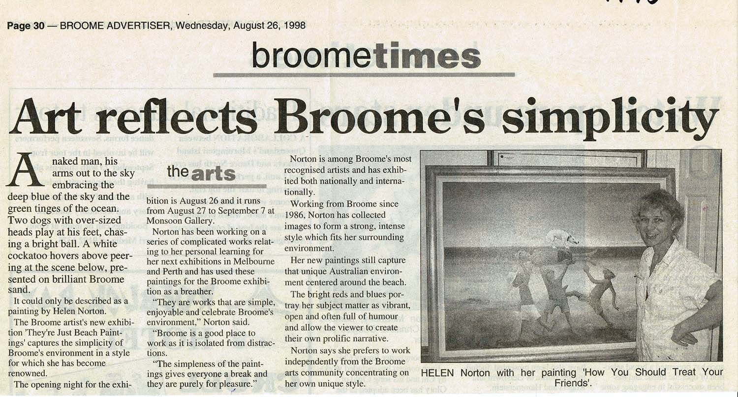 1998 Art Reflects Broome's Simplicity - Broome Times